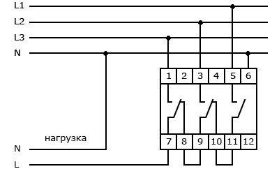 Схема подключения переключателя фаз
