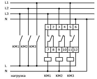 Схема подключения переключателя фаз через магнт иные пускатели