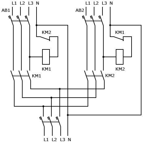 Однолинейная схема авр на 2 ввода 380в