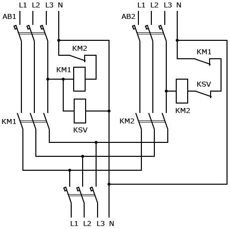 Схема АВР с реле контроля фаз