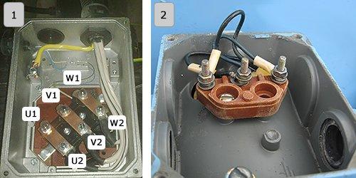 Клеммная коробка трехфазного асинхронного электродвигателя