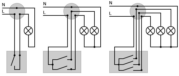 Схемы соединений проводов в распаячной распределительной коробке