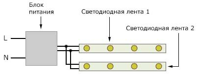 Схема параллельного подключения двух светодиодных лент