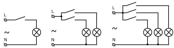 Схемы подключения одно-, двух- и трехклавишных выключателей