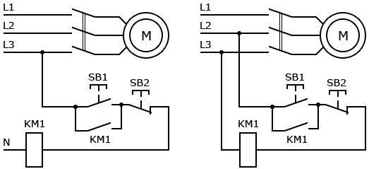 Схема подключения двигателя через магнитный пускатель