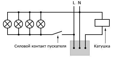 Схема подключения датчика движения с контактором