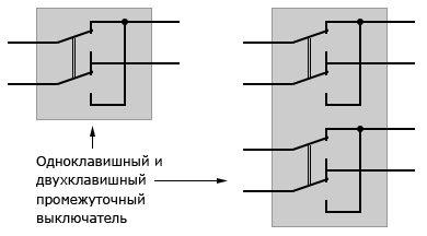 Схема промежуточного выключателя