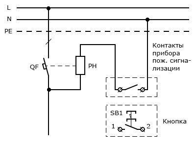 Схема подключения независимого расцепителя