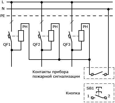 Схема подключения нескольких независимых расцепителей