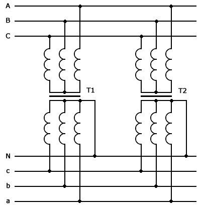 Схема параллельного включения силовых понижающих трансформаторов