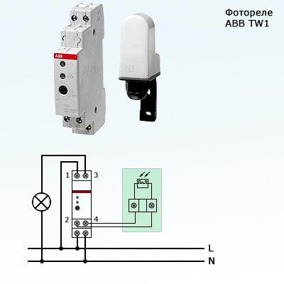 Схема подключения фотореле ABB с выносным датчиком