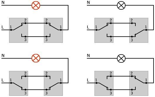 Схема подключения двух переключателей